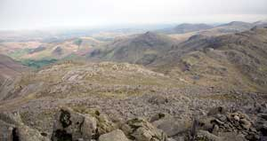 Looking back from Bowfell summit to Pike O'Blisco and great langdale