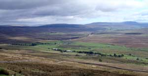 View from Whernside summit of Ribblehead Viaduct and Pen t Ghent