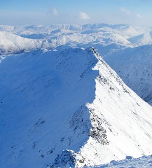 Striding Edge Helvellyn in Winter